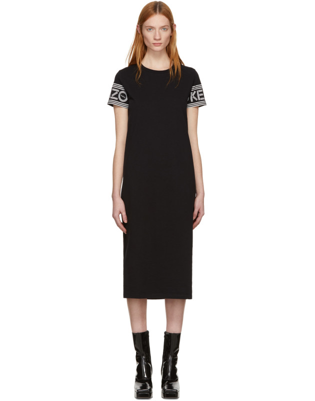 photo Black Midi Sport T-Shirt Dress by Kenzo - Image 1