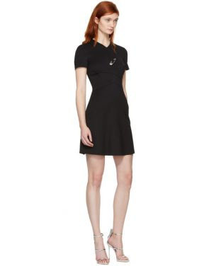 photo Black Cross Over Safety Pin Dress by Versus - Image 4