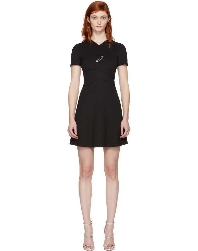 photo Black Cross Over Safety Pin Dress by Versus - Image 1