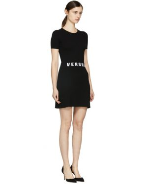 photo Black Bodycon Logo Dress by Versus - Image 2