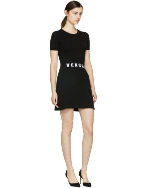 photo Black Bodycon Logo Dress by Versus - Image 4