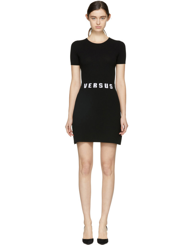 photo Black Bodycon Logo Dress by Versus - Image 1