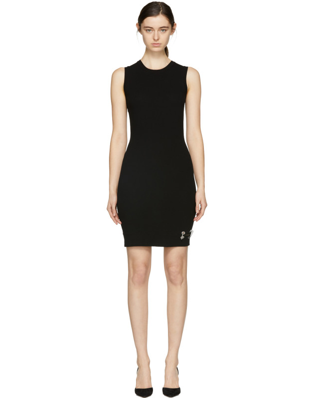 photo Black Bodycon Safety Pin Dress by Versus - Image 1