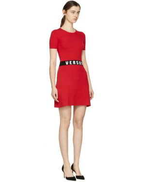 photo Red Bodycon Logo Dress by Versus - Image 2