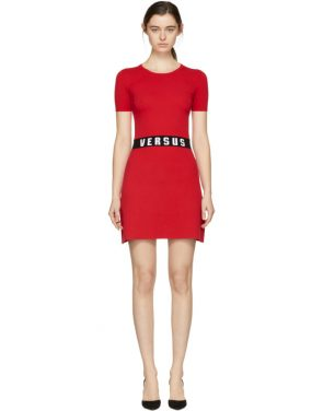 photo Red Bodycon Logo Dress by Versus - Image 1