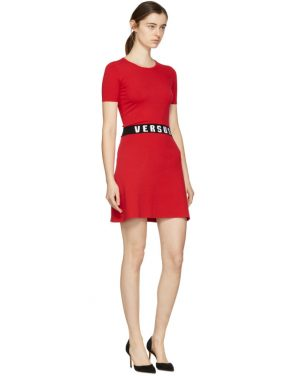 photo Red Bodycon Logo Dress by Versus - Image 4