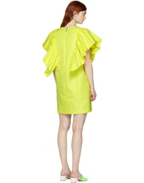 photo Yellow Ruffled Dress by MSGM - Image 3