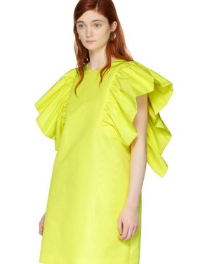 photo Yellow Ruffled Dress by MSGM - Image 4