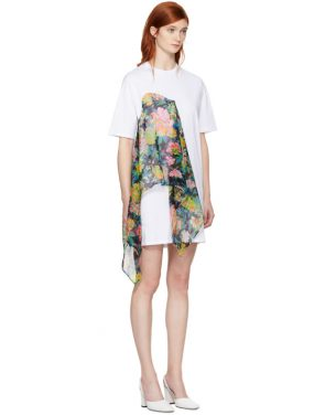 photo White Floral Scarf T-Shirt Dress by MSGM - Image 2