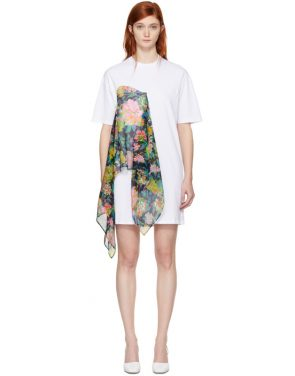 photo White Floral Scarf T-Shirt Dress by MSGM - Image 1