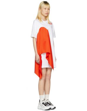 photo White Satin Insert T-Shirt Dress by MSGM - Image 2