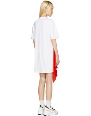 photo White Satin Insert T-Shirt Dress by MSGM - Image 3
