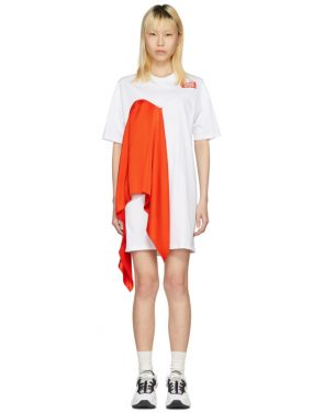 photo White Satin Insert T-Shirt Dress by MSGM - Image 1