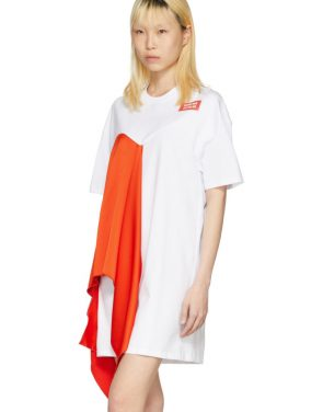 photo White Satin Insert T-Shirt Dress by MSGM - Image 4