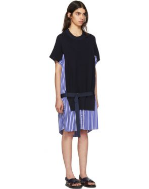 photo Navy Classic Cotton Knit Dress by Sacai - Image 2
