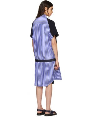 photo Navy Classic Cotton Knit Dress by Sacai - Image 3