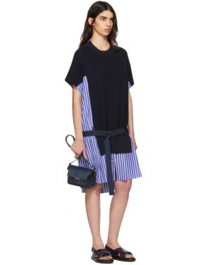 photo Navy Classic Cotton Knit Dress by Sacai - Image 4