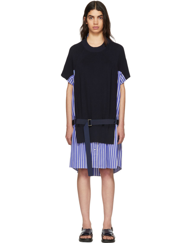 photo Navy Classic Cotton Knit Dress by Sacai - Image 1