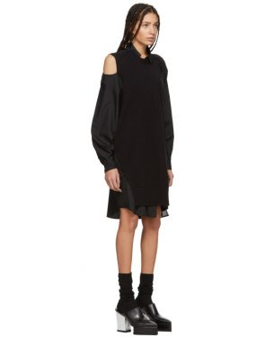 photo Black Asymmetric Knit and Poplin Dress by Sacai - Image 2