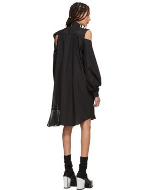 photo Black Asymmetric Knit and Poplin Dress by Sacai - Image 3