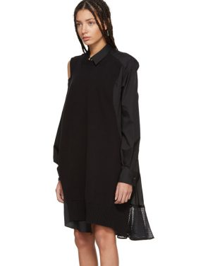 photo Black Asymmetric Knit and Poplin Dress by Sacai - Image 4