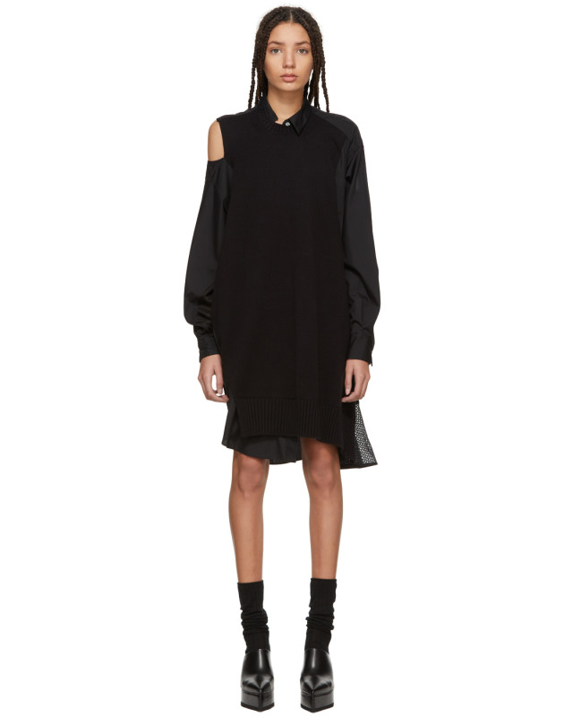 photo Black Asymmetric Knit and Poplin Dress by Sacai - Image 1