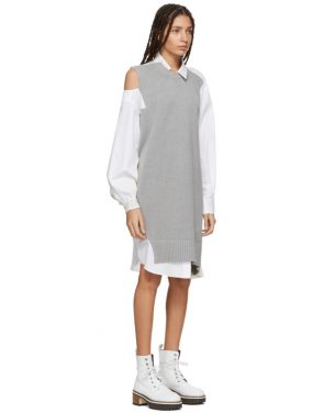 photo Grey and White Asymmetric Knit and Poplin Dress by Sacai - Image 2