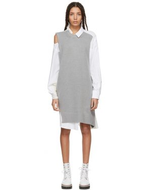 photo Grey and White Asymmetric Knit and Poplin Dress by Sacai - Image 1