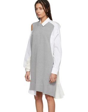 photo Grey and White Asymmetric Knit and Poplin Dress by Sacai - Image 4