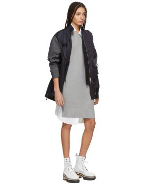 photo Grey and White Asymmetric Knit and Poplin Dress by Sacai - Image 5