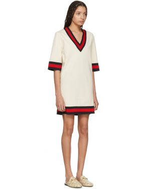 photo Beige Jersey V-Neck Dress by Gucci - Image 2