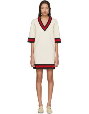 photo Beige Jersey V-Neck Dress by Gucci - Image 1