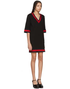photo Black Jersey V-Neck Dress by Gucci - Image 2