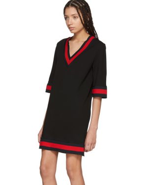 photo Black Jersey V-Neck Dress by Gucci - Image 4