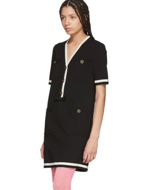photo Black Striped Piping Dress by Gucci - Image 4