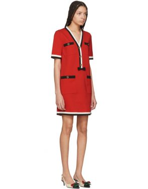 photo Red Striped Piping Dress by Gucci - Image 2