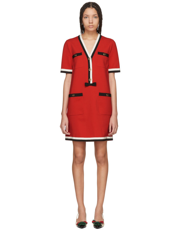 photo Red Striped Piping Dress by Gucci - Image 1
