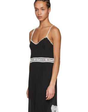 photo Black Lace Logo Slip Dress by Gucci - Image 4