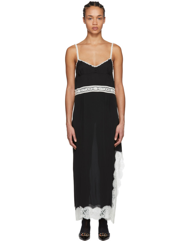 photo Black Lace Logo Slip Dress by Gucci - Image 1