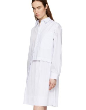 photo White Layered Shirt Dress by Cedric Charlier - Image 4