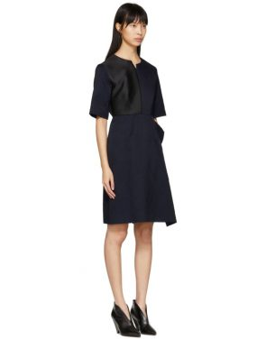 photo Navy Contrast Asymmetric Dress by Stella McCartney - Image 4