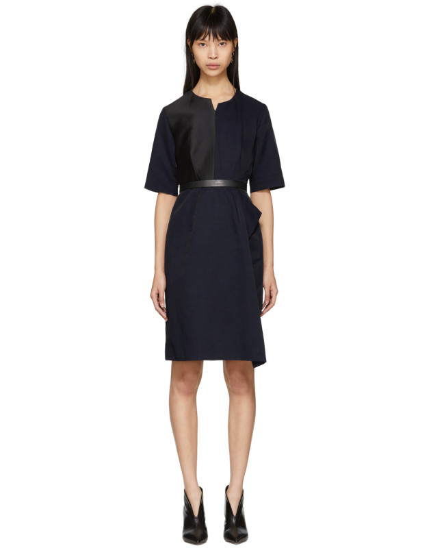 photo Navy Contrast Asymmetric Dress by Stella McCartney - Image 1