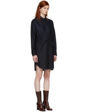 photo Navy Gathered Waist Shirt Dress by Stella McCartney - Image 2