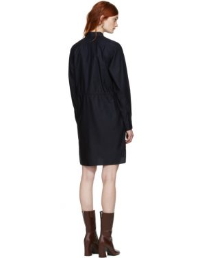 photo Navy Gathered Waist Shirt Dress by Stella McCartney - Image 3