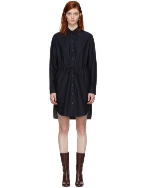 photo Navy Gathered Waist Shirt Dress by Stella McCartney - Image 1