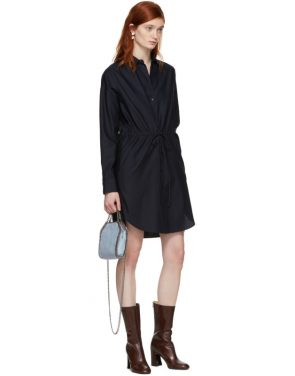 photo Navy Gathered Waist Shirt Dress by Stella McCartney - Image 5