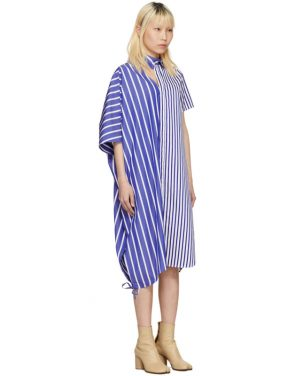 photo Blue and White Striped Asymmetric Shirt Dress by Facetasm - Image 2