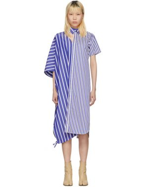 photo Blue and White Striped Asymmetric Shirt Dress by Facetasm - Image 1
