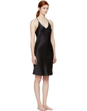 photo Black T-Strap Slip Dress by Fleur du Mal - Image 2