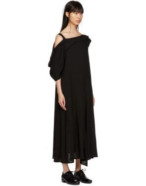 photo Black Asymmetric Draped Strap Dress by Yohji Yamamoto - Image 2